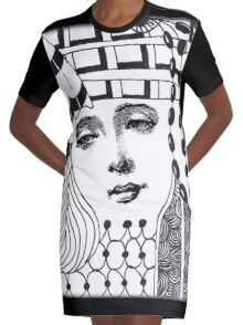 Tangled Face Graphic T-Shirt Dress