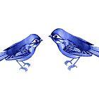 Indigo Birds by ThistleandFox