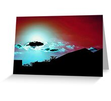Red Sky, Blue Clouds Greeting Card