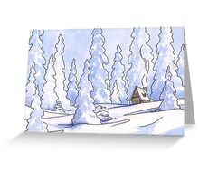 Winter Cabin Greeting Card