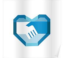 Handshake Forming Heart Shape Retro Poster