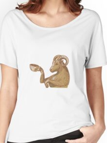 Ram Goat Drinking Coffee Drawing Women's Relaxed Fit T-Shirt
