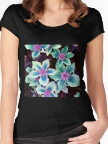 Turquoise Flowers Women's Fitted Scoop T-Shirt