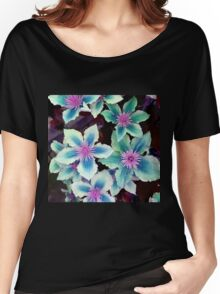 Turquoise Flowers Women's Relaxed Fit T-Shirt