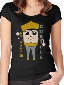 My Name is Cubicle - Cute Cartoon Vector Women's Fitted Scoop T-Shirt
