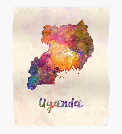 Uganda in watercolor Poster