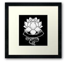 Lotus With Ribbon - Black Framed Print