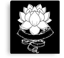 Lotus With Ribbon - Black Canvas Print