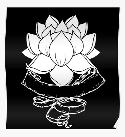 Lotus With Ribbon - Black Poster