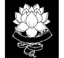 Lotus With Ribbon - Black Photographic Print