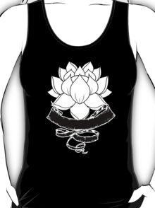 Lotus With Ribbon - Black T-Shirt