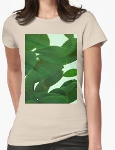 Cactus On Cyan Womens Fitted T-Shirt