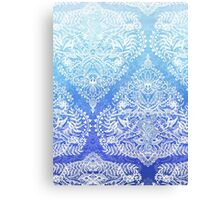 Out of the Blue - White Lace Doodle in Ombre Aqua and Cobalt Canvas Print