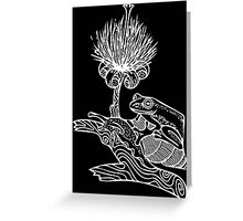 Frog on Snail in White Greeting Card