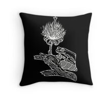 Frog on Snail in White Throw Pillow