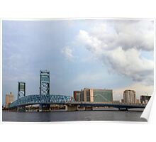 Blue Bridge with Clouds Poster