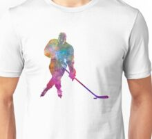 Hockey man player 03 in watercolor Unisex T-Shirt