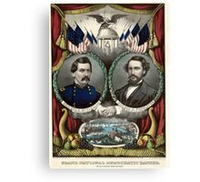 Grand National Democratic banner. Peace! Union! and victory! - 1864 Canvas Print