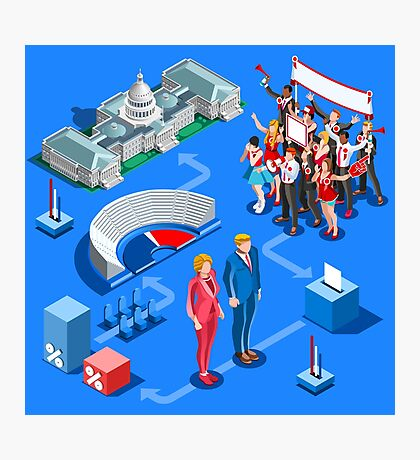 USA Political Elections Infographic Photographic Print