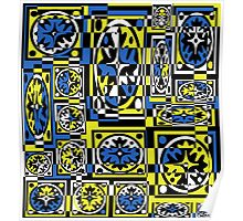 Blue and yellow decor Poster