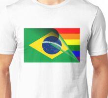 Brazil Flag Gay Pride Rainbow Flag Unisex T-Shirt
