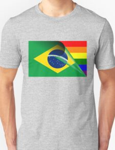 Brazil Flag Gay Pride Rainbow Flag Unisex T-Shirt