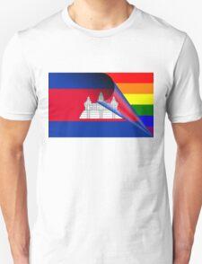 Cambodia Flag Gay Pride Rainbow Flag Unisex T-Shirt