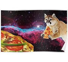 Cat, Space, and Pizza Poster