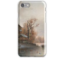 Anton Doll (Munich ) Winter landscape with ice skaters iPhone Case/Skin