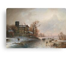 Anton Doll (Munich ) Winter landscape with ice skaters Canvas Print