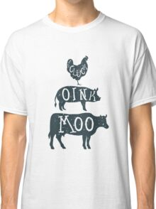 Farm Anilmals Silhouette. Chicken, pig and cow. Classic T-Shirt