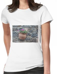 Pot of flowers on a stone wall Womens Fitted T-Shirt
