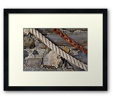 Stone texture with rope and steel chain Framed Print