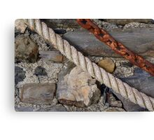 Stone texture with rope and steel chain Canvas Print