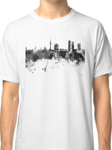 Munich skyline in black watercolor Classic T-Shirt