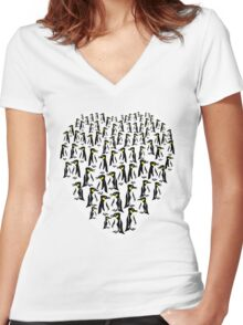 Penguins Clustered into a Heart Women's Fitted V-Neck T-Shirt