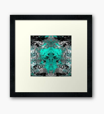 abstract teal/grey Framed Print