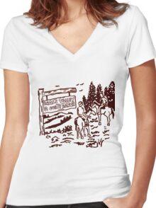 STRANGER THINGS - Dustin's Grass Valley Shirt - the original Women's Fitted V-Neck T-Shirt