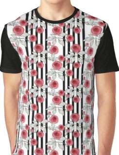 Red roses on black and white striped background. Graphic T-Shirt