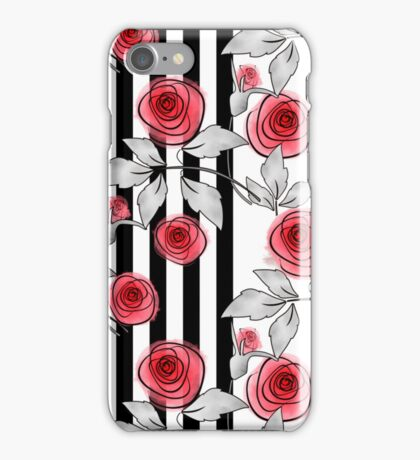 Red roses on black and white striped background. iPhone Case/Skin