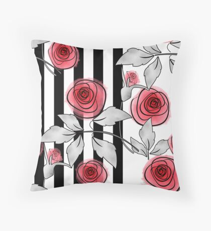 Red roses on black and white striped background. Throw Pillow