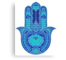 Teal Blue Lotus Hamsa Canvas Print