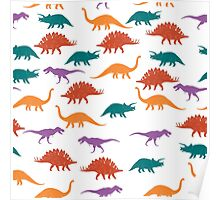 Colorful Dinosaurus Seamles Pattern Background Poster