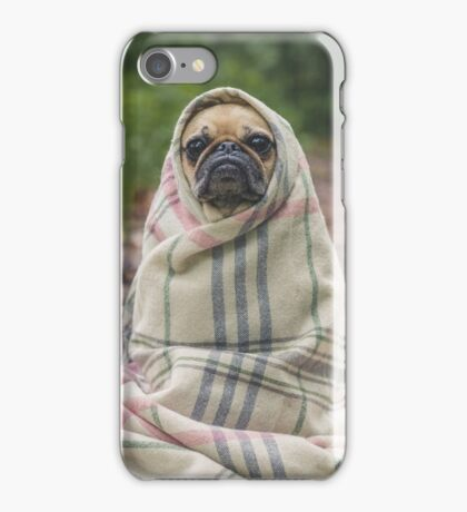 Adorable Pug Dog in Blanket iPhone Case/Skin