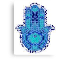 Teal Blue Lotus and Dots Hamsa Canvas Print