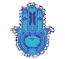 Teal Blue Lotus and Dots Hamsa Photographic Print
