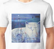 Blind white cat on a moonlit night. Unisex T-Shirt