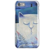 Blind white cat on a moonlit night. iPhone Case/Skin