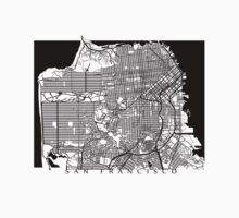 San Francisco Black and White Map Art - California, USA Kids Tee