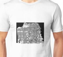 San Francisco Black and White Map Art - California, USA Unisex T-Shirt